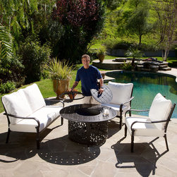 None - Gatsby 4-piece Firepit Chat Set - For the ultimate in outdoor versatility,the Gatsby 4pc firepit chat set offers a table,a firepit,and a comfortable spot to sit with your guests. Complete with powder-coated cast aluminum and Sunbrella brand cushions for outdoor use.