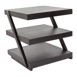 Lazy Susan - Stacked Black Teak Side Table - -Weight (lbs.): 15