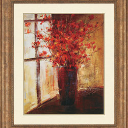 Paragon Decor - Vase of Red Flowers Artwork - Red florals with oriental styling are dazzling in a gold finish frame.
