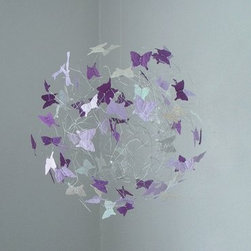 Butterfly Mobile Nursery Decor for Baby Room - Lavender, Purple and Silver Butterfly Mobile a modern butterfly mobile that can be created in your colors.