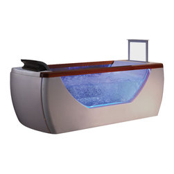 EAGO - EAGO AM195 6' Right Drain Rectangular Free Standing Air Bath Tub with TV Screen - We are very excited to offer you this breath taking AM195 EAGO air bath tub! The design has changed the concept of bathtubs to something like a 'pool' and makes you feel so close and intimate with water. It will release your natural deep desire for the basic element of life; H2O.This tub features a beautiful design which will add the finishing touches to any bathroom. We are confident that you will indulge in a state of complete relaxation and tranquility with all the features that this tub has to offer. Be prepared to purchase luxury at its finest!