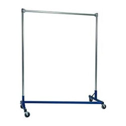 "Quality Fabricators - Z-Rack - Heavy Duty 60"" Long Base Single Rail w/ 72"" Uprights, Blue - The apparel industry relies on space-saving clothes racks for many reasons, but mainly because the shape of the  Z  rack folds right into another unit and out of the way. More floor space is a great reason to choose it, but so is this rack's long-lasting durability. Able to hold 500 lbs, with a five foot base and uprights that extend up to six feet, it s a multi-purpose rack that can provide needed storage in a laundry room, church choir room, school band room, garage, or anywhere you need more hanging space."
