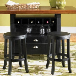 Liberty Furniture - Pub Casual 5 Pc Pub Table Set - Includes table and four bar stools. Wine bottle storage and stemware rack. Flip down drawers and additional storage. Seats up to six. Nylon chair glides. RTA construction. Warranty: One year. Made from select hardwoods and oak veneers. Rubbed black and cherry finish. Made in Malaysia. Barstool: 15 in. Dia. x 24 in. H (13 lbs.). Table: 60 in. L x 36 in. W x 36 in. H (171 lbs.)Fashionable and functional appeal that will easily enhance your home's decor.