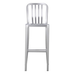 Delta 30-inch Aluminum Barstool - Metallic finishes like the brushed aluminum on these stools will help tie in the beachy-nautical feel with stainless steel appliances. Not to mention, these are super easy to clean.