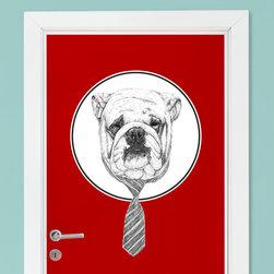 My Wonderful Walls - Bulldog Wall Decal - Cool Dog Animal Art by Balázs Solti, Small - - Product:  bulldog in necktie wall sticker