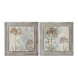 Floral Oasis Wall Art, Set of 2 - *These Oil Reproductions Feature A Hand Applied Brushstroke Finish. Frames Have Medium Brown Undertones With Muted Blues, Off-white Distressing And A Gray Wash. Center Portion Of Frames Are Heavily Accented By Off-white And A Light Brown Wash.