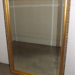 """46"""" x 32"""" Beveled Wall Mirror, Gilded Frame - This is a lovely, elegant, classic style wall mirror measuring 46"""" x 32"""", very large for a big space like over a sofa or buffet."""