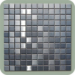 """Stainless Steel Metal Mosiac Sheets - 1 in. x 1 in. Stainless Steel Metallic Mosaic in meshed on 12"""" x 12"""" Sheet tiles for kitchen backsplash, shower walls. Each tile is approximately one square foot. These tiles can be simply cut with a household scissors into any pattern so you can use them as you like."""