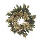 Nearly Natural - 24in. Golden Poinsettia Wreath - The holidays aren't always red and green, as this stunning golden poinsettia wreath demonstrates. With a magical combination of golds, greens, and browns in various hues and textures (including faux pine stems and pine cones), this wreath adds a regal touch to any holiday decor, and is matchless in its stately charm.