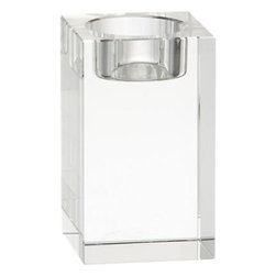 Oslo Medium Candleholder - Cubist candlelight in brilliant lead crystal with polished, beveled edges. Modern architectural candleholder stands strong alone or clusters beautifully.