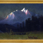 """Albert Bierstadt-18""""x24"""" Framed Canvas - 18"""" x 24"""" Albert Bierstadt Western Landscape framed premium canvas print reproduced to meet museum quality standards. Our museum quality canvas prints are produced using high-precision print technology for a more accurate reproduction printed on high quality canvas with fade-resistant, archival inks. Our progressive business model allows us to offer works of art to you at the best wholesale pricing, significantly less than art gallery prices, affordable to all. This artwork is hand stretched onto wooden stretcher bars, then mounted into our 3"""" wide gold finish frame with black panel by one of our expert framers. Our framed canvas print comes with hardware, ready to hang on your wall.  We present a comprehensive collection of exceptional canvas art reproductions by Albert Bierstadt."""
