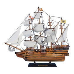 """Handcrafted Model Ships - Mel Fisher's Atocha 20"""" - Model Boat - Sold Fully Assembled Ready for Immediate Display - Not a Model Ship kit. Inspired by the grand ship of the Spanish new world treasure fleet whose wreck was discovered and salvaged by treasure-hunter Mel Fisher, these adorable tall ships models of the Atocha easily rest upon any shelf or desk. Add a flair of nautical history to any room's decor with this tall ships model. 20"""" Long x 4"""" Wide x 18"""" High."""