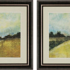 Paragon Decor - This Place Set of 2 Artwork - Be pulled into these alluring landscapes in shades of yellow and green.