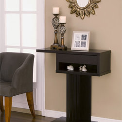 None - Zendi Modern Symmetry Duo-storage Console Table - Display your favorite table lamp or decorative pieces with this contemporary Zendi table. Featuring a unique,center-slat support system,this cappuccino end table design incorporates an open shelf and small drawer to provide storage space.