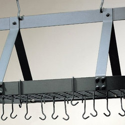 Old Dutch International - Pot Rack with Grid in Graphite - Traditional with a rustic appeal, this oval pot rack will be an appealing addition to your kitchen decor. Perfect for adding storage and style to any design, the rack is made of steel in a stylish graphite powder coat finish and includes 16 hooks for pots, pans and utensils. Includes 16 hooks. Oval shape. Traditional style. Made from powder coated steel. 19 in. L x 15.5 in. W x 36 in. H