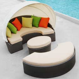 TOSH Furniture - Outdoor Patio Beige Daybed with Canopy - TOS-GW3074SET-B - Modern lounge chaise