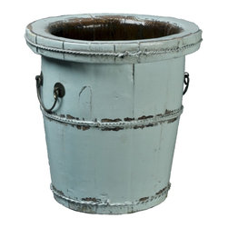 Antique Revival - Aqua Vintage Cenxi Bucket - The Vintage Cenxi Bucket is a great accent piece for your entryway, kitchen, living room or patio. You can easily use it to hold flowers or let it make a statement on its own. The iron hardware, handle and support around the middle add to the authentic rustic vibe, and the distinctive lip around the rim makes it easy to handle.