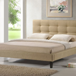 Baxton Studio - Quincy Natural Linen King Size Platform Bed - Raise your mattress up off the ground for a better nights sleep and add some sleek, modern style to your room with this contemporary king size platform bed frame. It is upholstered in a soft, neutral cream fabric with an attached, tufted headboard.