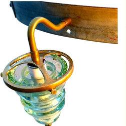 Suspended Brass Insulator Light on Wine Barrel Hoop chandelier - www.railroadware.com