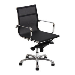 LexMod - Regis All-Mesh Low Back Conference Office Chair in Black - The Regis All-mesh Office Chair is a clean lined stylish choice. Engineered to be comfortable in all weathers, this chair is a great choice for those who want the benefits of mesh.