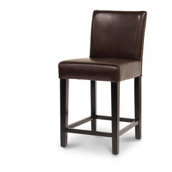 Palecek - Hudson Leather Woven 24-inch Bar Stool, Dark Brown - Plantation hardwood frame and legs. Back features upholstered leather front and woven back. Upholstered leather seat. Available only as shown.
