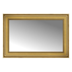 """Posters 2 Prints, LLC - 38"""" x 26"""" Arqadia Gold Traditional Custom Framed Mirror - 38"""" x 26"""" Custom Framed Mirror made by Posters 2 Prints. Standard glass with unrivaled selection of crafted mirror frames.  Protected with category II safety backing to keep glass fragments together should the mirror be accidentally broken.  Safe arrival guaranteed.  Made in the United States of America"""