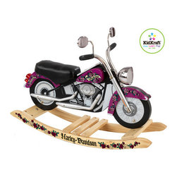 KidKraft - Harley Davidson Girls Roaring Rocker - Share your love for Harley-Davidson with your child. From the Harley-Davidson collection, this Girls Roaring Rocker is the perfect ride for your little diva and will provide hours of safe, fun and imaginative play. Features: -Comfortable, leather - like seat. -Purple and pink painted accents. -Safe, solid wooden anti - tip rocker base. -Cool Harley-Davidson look. -Licensed by Harley-Davidson. -Easy assembly.