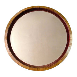 "Alpine Wine Design - Inverted Wine Barrel Mirror - Our Inverted Napa Valley wine barrel mirror is created from the top of a wine barrel and features original metal bands and natural red wine stain. This mirror has the inside of the barrel featured, so you see lots of the wine stain surrounding the mirror. It's approximately 25"" diameter x 4""deep. Attaches to the wall with heavy duty hangers that are provided."