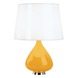 "Robert Abbey - Jonathan Adler Capri Table Lamp - You might mistake the base for a colorful ""I Dream of Jeanie"" bottle, but this table lamp is not an illusion. Made of cased glass and polished nickel accents, you'll be wishing you had a few of them in each room."