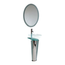 Fresca - Fresca Vitale Modern Glass Bathroom Vanity - Streamline your bathroom decor with this sophisticated vanity. Gorgeous glass and gleaming chrome perfectly flow to create an utterly modern look for your washroom.