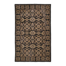 Kaleen - Contemporary Restoration 8'x10' Rectangle Black Area Rug - The Restoration area rug Collection offers an affordable assortment of Contemporary stylings. Restoration features a blend of natural Black color. Hand Knotted of 100% Wool the Restoration Collection is an intriguing compliment to any decor.