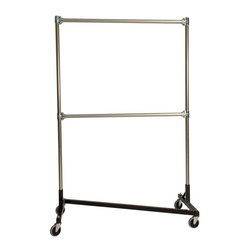 "Quality Fabricators - Z-Rack - Heavy Duty 48"" Long Base Double Rail w/ 72"" Uprights Black - This four foot double rail Z-rack, a multi-purpose clothing rack, is able to withstand just as much heavy use as its larger counterparts, but still fits easily into smaller spaces. The uprights still extend to a full six feet, providing a good amount of hanging space"