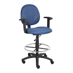 """Boss Chairs - Boss Chairs Boss Blue Fabric Drafting Stools with Adjustable Arms and Footring - Contoured back and seat help to relieve back-strain. Pneumatic gas lift seat height adjustment. Large 27"""" nylon base for greater stability. Hooded double wheel casters. Strong 20"""" diameter chrome foot ring. With adjustable arms. Caressoft. Optional glides can be used in place of casters (TU021)."""