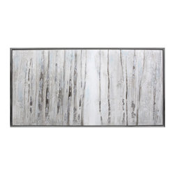 iMax - Advent Framed Oil Painting - A whiter shade of pale: A Framed oil painting heads into the woods to depict the natural beauty of a thick stand of birch trees.