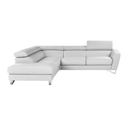 JNM Furniture - Nicoletti  Sparta Italian Leather Sectional Sofa, White, Left Facing Chaise - Italian Leather sectional set fashionable and stylish in white premium leather. Seats and backs have high density foam to give you extra comfort and support.