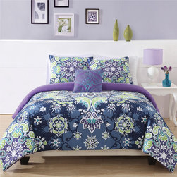 None - Kaleidoscope 3-piece Comforter Set - The Kaleidoscope comforter has a bright printed microfiber cover with polyester filling. The bright fun prints are great for kids of all ages. They are machine washable. These mini sets include standard shams.