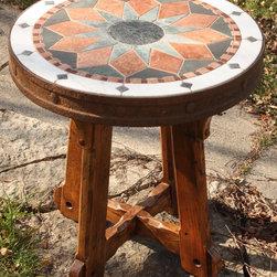 """Cararra Rim"" photo 1/3 - End Table, hand-cut stone, ancient farm implement wheel rim,  reclaimed pine lumber base. 25 1/8"" D x 26 3/4"" H"