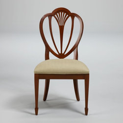 Hepplewhite Side Chair - This Hepplewhite chair has the distinctive shield back motif, typical of the Federal-style period.  Comfortable and beautiful, it would be a lovely addition to any dining room ensemble.