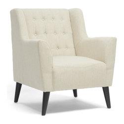 Baxton Studio - Baxton Studio Berwick Beige Linen Arm Chair - Who said elegance can't be simple? We sure didn't - one look at the Berwick Tufted Arm Chair and you'll see why. This simple style features the regality of a button-tufted tall backrest and stately armrests. The modern club chair's solid birch frame, foam cushioning, and black legs with non-marking feet are topped with beige linen upholstery. This Chinese-made modern living room chair requires assembly and should be exclusively spot cleaned.