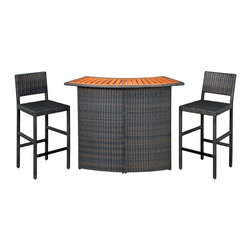 HomeStyles - Outdoor Woven Bar and Two Stools - An economical solution for upscale outdoor furniture. ready-to-assemble, synthetic resin wicker. This Riviera Outdoor Woven Bar and Two Stools is constructed of CycropleneTM, a synthetic resin wicker in a shade deep brown with a gold streak design, woven over rust-resistant, powder-coated aluminum frames. Top is constructed of shorea wood with a slat-style design. CycropleneTM is 100 percent recyclable, moisture and weather resistant, low maintenance material. Bar features include shaped-style bar and two interior shorea wood slatted shelves for storage. Stool features include metal foot rest and straight-style legs. Seats are padded for comfort. Bar Size: 52.5 in. W x 22 in. D x 42.5 in. H. Stool Size: 17.75 in. W x 21.75 in. D x 44.5 in. H. Assembly required.