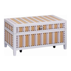 """Stein World - Stein World Cabana Stripe Trunk, Wood White, Material: Ticking - The Cabana Stripe Truck, features a lift up top with beautiful silver handle. Completed in a """"Ticking"""" fabric and nail head trim, this piece is a must have for any one."""