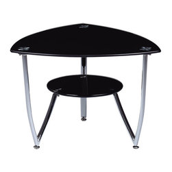 "Global Furniture - End Table in Black - This end table complete with black tempered glass and chrome accents are all you need to enhance the look of your living space.; Materials: Glass/Metal Legs; Color: Black/Chrome Legs; Weight: 20 lbs; Dimensions: 26""L x 26""W x 18""H"