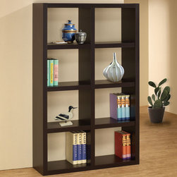 Coaster - 800298 Bookshelf - This simple bookshelf provides plenty of storage space and a minimalistic design. Finished in cappuccino.