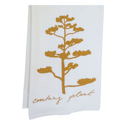 "Kimball Prints - Century Plant Tea Towel - This Century Plant Succulent Tea Towel is part of a series inspired by the American West.  Brighten any kitchen or bath with this elegant modern design! It also makes a perfect hostess gift or stocking stuffer.  A type of agave, Century Plants have beautiful dramatic stalks that tower over 15 feet in the air and bloom with deep yellow flowers.   hand-printed | non-toxic ink | yellow ochre  100% cotton sourced from Michigan | 22"" x38"" inches.  Machine wash cold.  Hand printed with love in Austin, Texas."