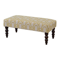 Linon Home Decor - Linon Home Decor Benche X-U10DLOG01163 - The Gold Geo Claire Bench is perfect for adding extra seating space to your living room, den, or at the end of your bed. The distinctive Gold Geo upholstery and the rich dark walnut finish on the turned ball legs adds an air of uniqueness and style to this versatile piece. The luxurious padding will provide extra comfort. Leg Assembly Only.