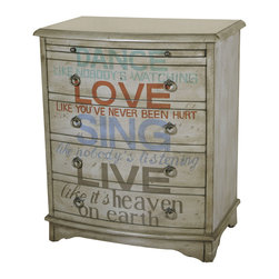 Muted Tones Accent Chest - Features: