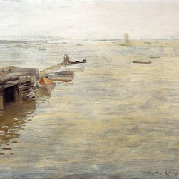 """William Merritt Chase Seashore (A Grey Day)   Print - 16"""" x 20"""" William Merritt Chase Seashore (also known as A Grey Day) premium archival print reproduced to meet museum quality standards. Our museum quality archival prints are produced using high-precision print technology for a more accurate reproduction printed on high quality, heavyweight matte presentation paper with fade-resistant, archival inks. Our progressive business model allows us to offer works of art to you at the best wholesale pricing, significantly less than art gallery prices, affordable to all. This line of artwork is produced with extra white border space (if you choose to have it framed, for your framer to work with to frame properly or utilize a larger mat and/or frame).  We present a comprehensive collection of exceptional art reproductions byWilliam Merritt Chase."""