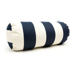 Majestic Home - Outdoor Navy Blue Vertical Stripe Round Bolster - Add a splash of color and a little texture to any environment with these great indoor/outdoor plush pillows by Majestic Home Goods. The Majestic Home Goods Round Bolster Pillow will add additional comfort to your living room sofa or your outdoor patio. Whether you are using them as decor throw pillows or simply for support, Majestic Home Goods Round Bolster Pillows are the perfect addition to your home. These throw pillows are woven from Outdoor Treated polyester with up to 1000 hours of U.V. protection, and filled with Super Loft recycled Polyester Fiber Fill for a comfortable but durable look. Spot clean only.