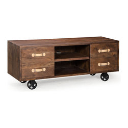 ZUO ERA - Oaktown Low Console Distressed Walnut - Oaktown Low Console Distressed Walnut