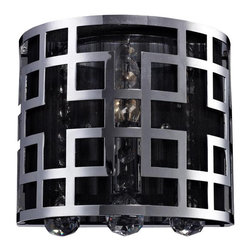 One Light Chrome Crystal Bathroom Sconce - The chrome outer cage of this one light fixture uses boldly modern geographic styling to create a clean and contemporary look. The inner shade is made up of black string, which subdues the light and creates a lovely contrast with the glimmering crystal.